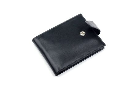 categorize: Black leather business card holder isolated on white background