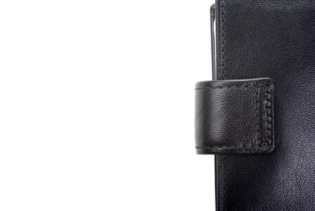 High quality black leather wallet isolated on white as background. Empty space for your design. photo
