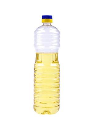 Vegetative oil in plastic bottle isolated on white background. photo