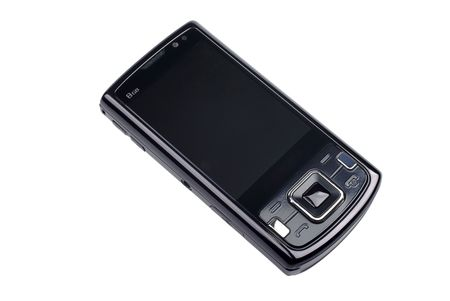 Modern black smart phone isolated on white background. Stock Photo - 4589721