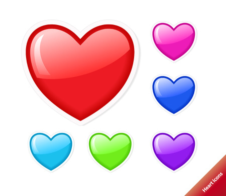Aqua style set of vector heart icons. Different colors, any size. Vector