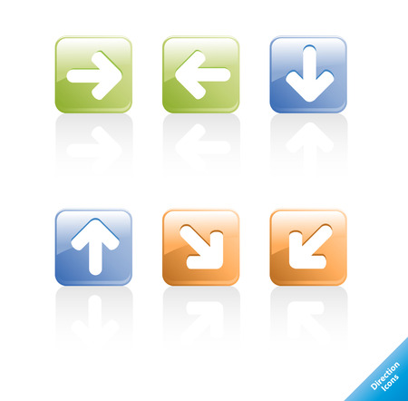 Set of aqua web 2.0 direction computer icons. Easy to edit, any size. Vector