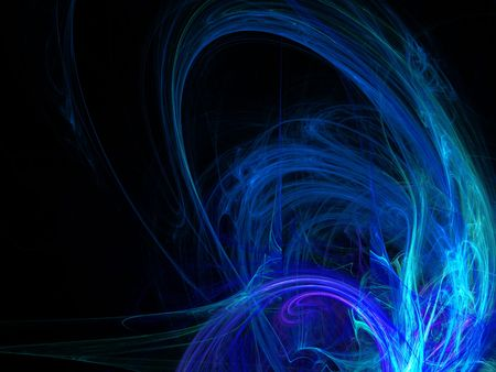 digitally generated: Digitally rendered abstract blue energy wave fractal on black.
