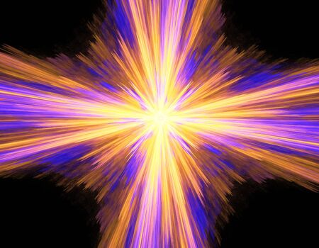Digitally rendered abstract multicolored exploding supernova on black. Stock Photo - 4611479