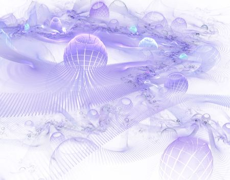 Abstract digitally rendered fractal puprple world in space on black. photo