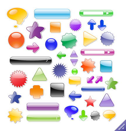 Collection of glossy web elements. Perfect for adding text or icons. Shadows created with blends. Stock Vector - 4611489