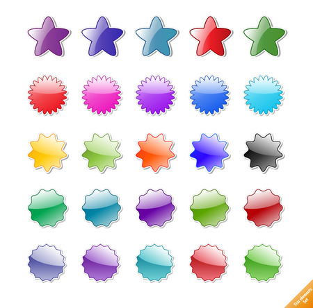 Collection of gloassy web elements. Perfect for adding text or icons. Shadows created with blends.