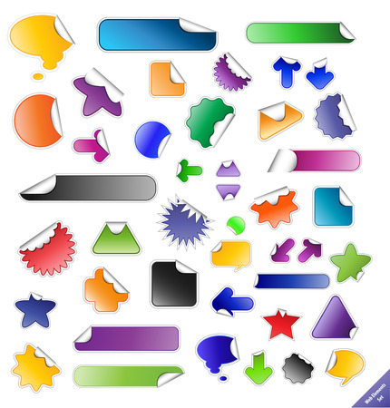 Collection of sticky web elements. Perfect for adding text or icons. Stock Vector - 4611494