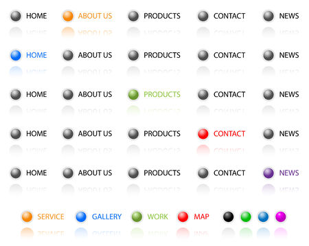 Set of vector aqua web 2.0 site navigation buttons. Easy to edit, any size. Stock Vector - 4652661