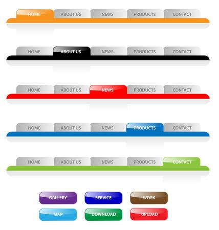 pesta�as: Conjunto de vectores hidroambientales la navegaci�n por el sitio web 2.0 pesta�as y botones. F�cil de editar, de cualquier tama�o.