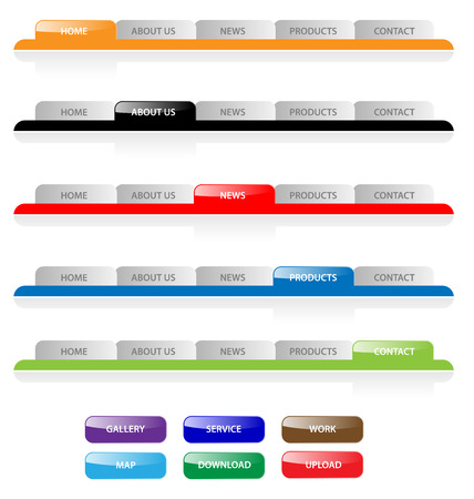tabs: Set of vector aqua web 2.0 site navigation tabs and buttons. Easy to edit, any size.