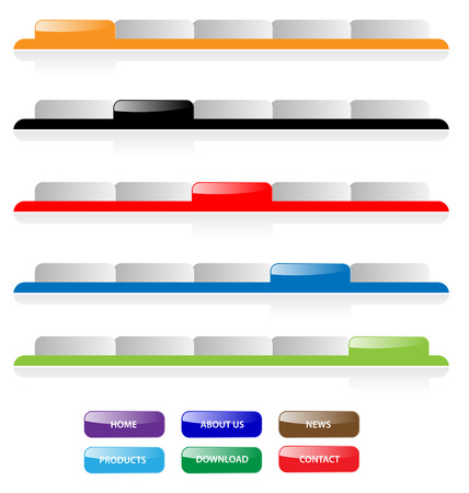 Set of vector aqua web 2.0 site navigation tabs and buttons. Perfect for adding text. Easy to edit, any size.