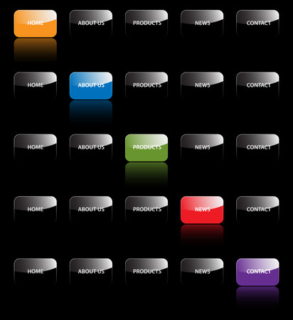 Set of vector aqua web 2.0 site navigation tabs and buttons. Easy to edit, any size. Vector