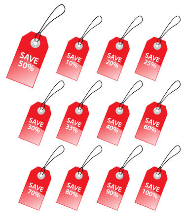 Collection of vector tags with discount numbers for marketing sales. Stock Vector - 4652657