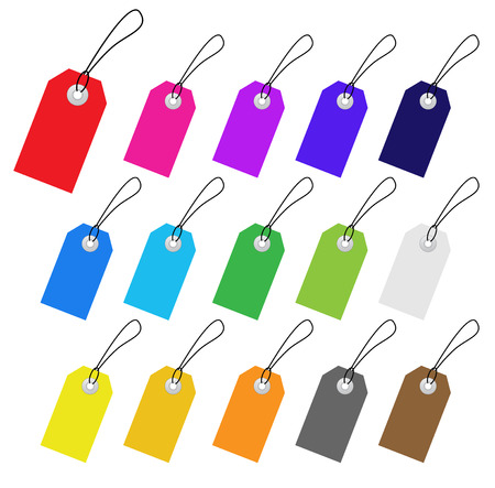 pricetag: Set of multicolored vector tags for marketing design. Perfect use with text.