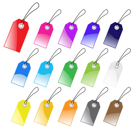 Set of multicolored vector tags for marketing design. Perfect use with text. Vector