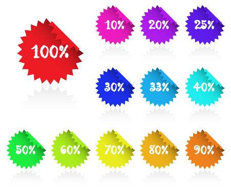 Collection of multicolored sticky discount label for marketing, promotion. Stock Vector - 4713587