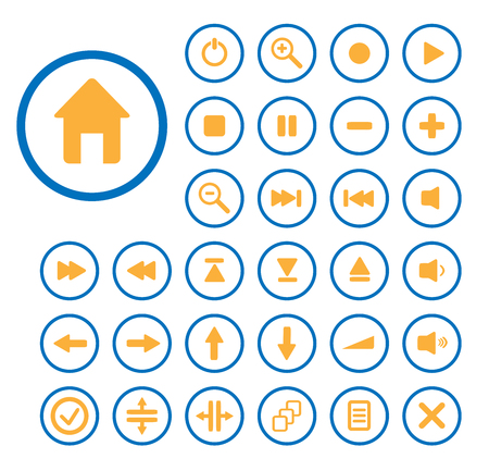 Collection of vector audio buttons. Easy to edit, any size. Vector
