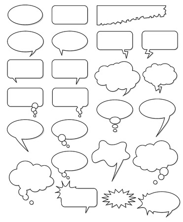 Collection of different empty vector shapes for comics or web. Add text, easy to edit, any size. Vector