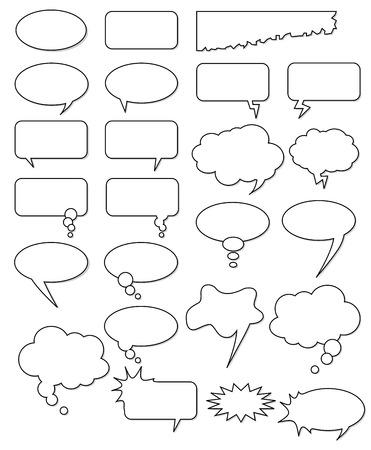 Zbiór pusty różnych kształtów wektorowych na komiks lub internecie. Dodaj tekst, łatwe do edycji, każdej wielkości. Ilustracje wektorowe