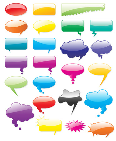 Collection of colored vector comics shapes. Add text, easy to edit, any size. Vector