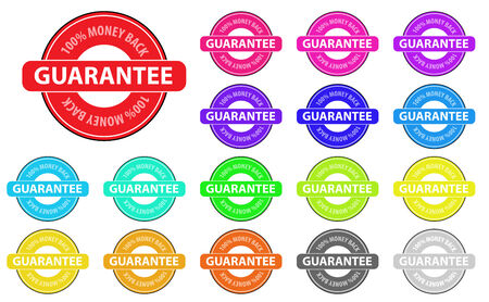 Collection of vector multicolored money back badges. Easy to edit, any size. Vector