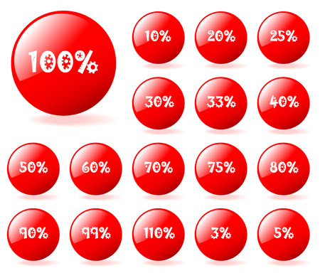 Set of vector aqua style red discount buttons. Easy to edit, any size. More in my gallery. Stock Vector - 4713592