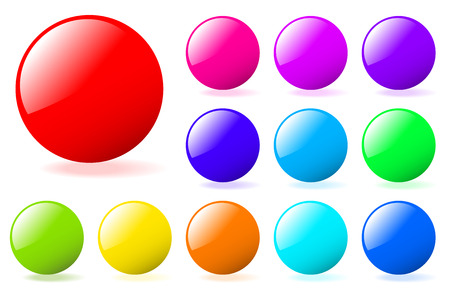 Set of multicolored glossy vector spheres with shadow. Perfect for adding text, icons. Stock Vector - 4724112