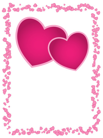 Vector card with pink hearts and empty space for greeting, wedding, anniversary or valentine's day. Stock Vector - 4724115