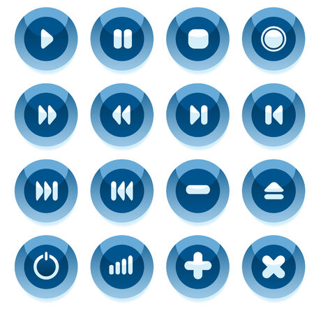 Set of blue vector multimedia buttons with shadow. Easy to edit, any size.  Stock Vector - 4724118
