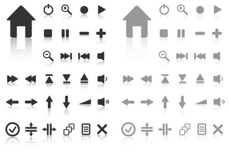 Collection of vector buttons with reflection. Active and inactive.  Vector