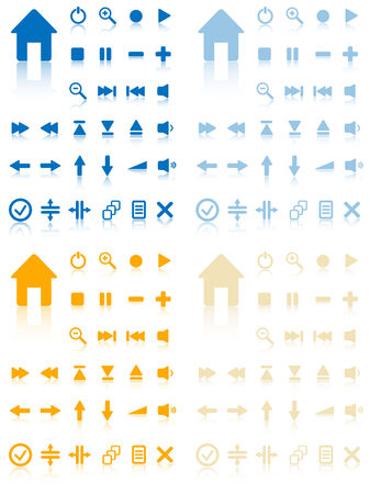 inactive: Collection of vector buttons with reflection. Active and inactive.