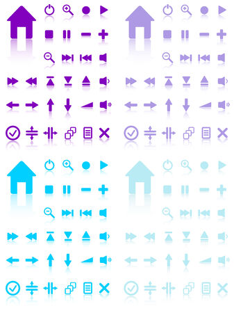 inactive: Collection of vector buttons with reflection. Active and inactive. Illustration