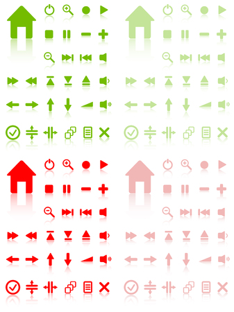 plat: Collection of vector buttons with reflection. Active and inactive. Illustration