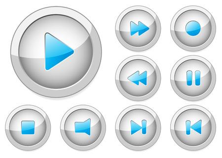 Conjunto de botones con estilo vectorial multimedia. Ilustración de vector