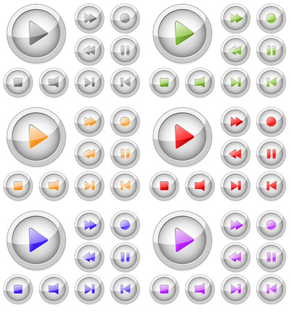 Set of stylish colored vector multimedia buttons. Stock Vector - 4724144