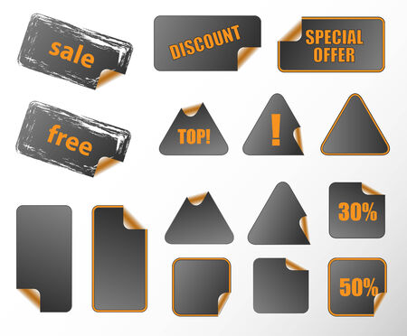 Collection of promotion vector labels. Different shapes, easy to edit, any size. Perfect for adding text, icons. Vector
