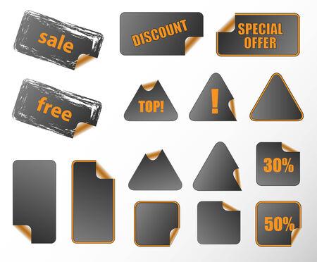 different shapes: Raccolta di promozione vettore etichette. Diverse forme, facile da modificare, qualsiasi dimensione. Perfetto per l'aggiunta di testo, le icone.