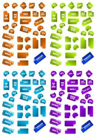 Collection de multicolores vecteur marketing collant des �tiquettes. Parfait pour ajouter du texte, des ic�nes.
