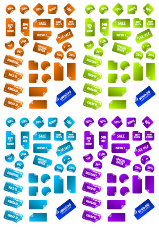 Collection of multicolored vector sticky marketing labels. Perfect for adding text, icons.  Illustration