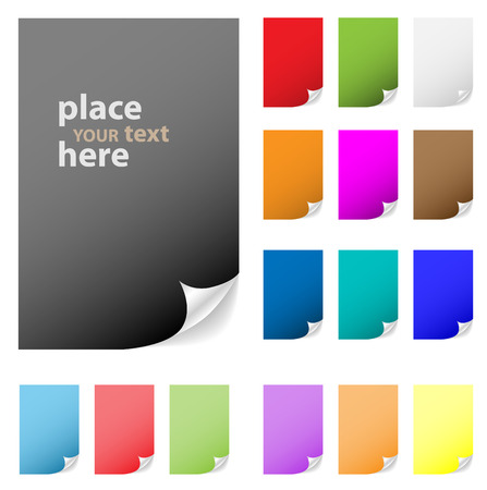 Collection of vector multicolored paper with peeled corner. Perfect for adding text, design. More in my gallery. Illustration
