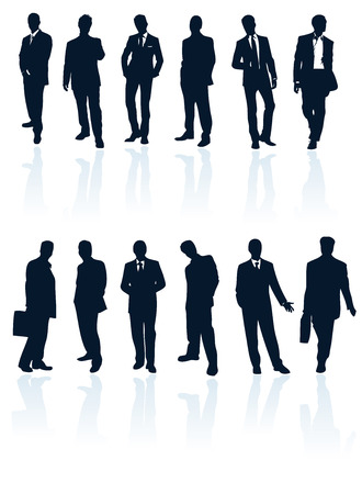 Set of dark blue vector businessman silhouettes with reflections. More in my gallery. Illustration