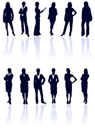 Conjunto de color azul oscuro vector mujer de negocios con siluetas reflexiones. Más información en mi galería.