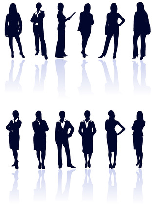 Set of dark blue vector business woman silhouettes with reflections. More in my gallery. Vector