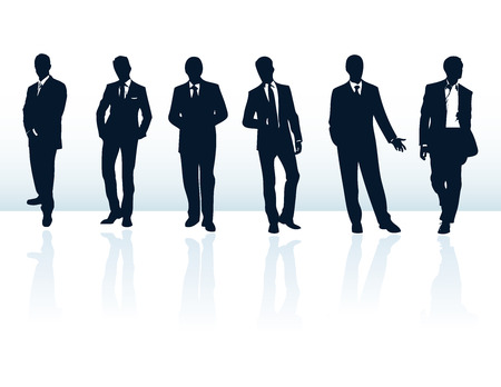 ternos: Set of dark blue vector businessman silhouettes in suits. More in my gallery.