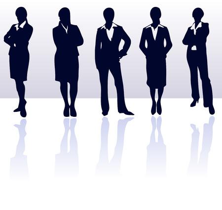 Ensemble de couleur bleu fonc� vecteur silhouettes de femme d'affaires r�flexions. Plus d'informations dans ma galerie.