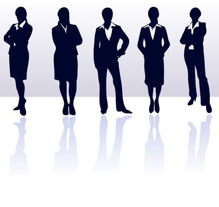 mulher: Set of dark blue vector business woman silhouettes with reflections. More in my gallery.