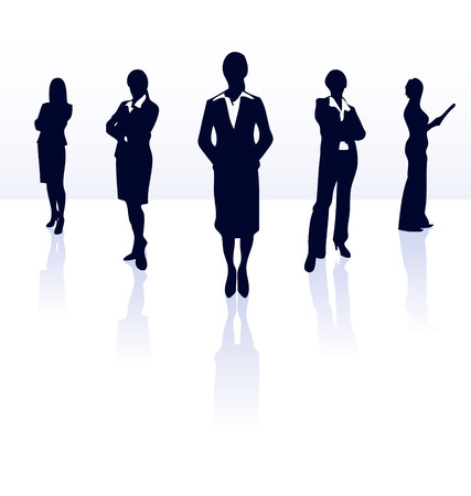 Silhouettes of vector businesswoman team. More in my gallery. Vector