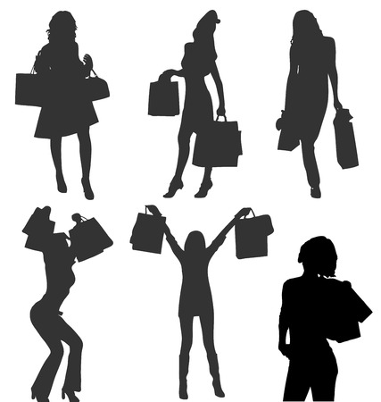 Silhouettes of vector shopaholic girls with bags. More in my gallery. Stock Vector - 4997463