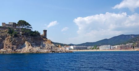 Cityscape of Tossa de Mar view from sea, Costa Brava, Spain. photo